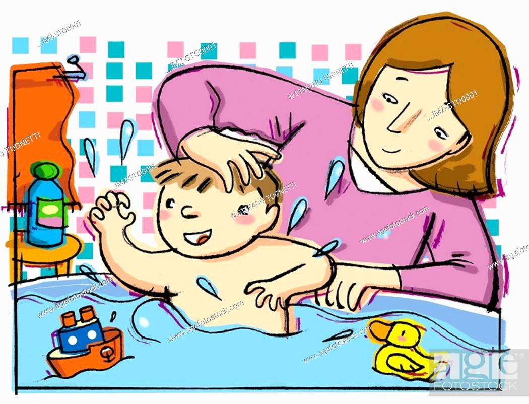 Stock Photo: A mother giving her baby a bath.