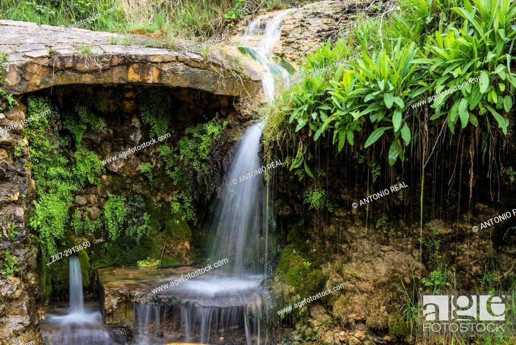Stock Photo: Waterfall. Paraje de la Mearrera. Almansa. Albacete. Spain.