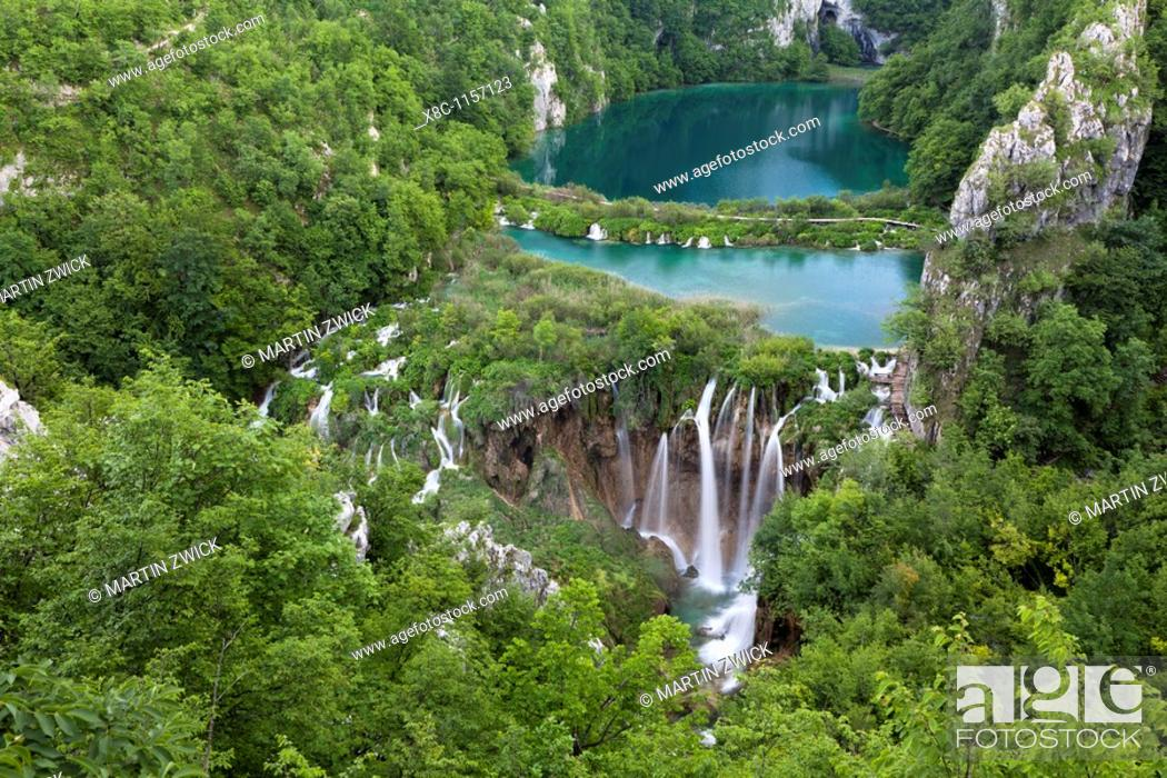 Stock Photo: The Plitvice Lakes in the National Park Plitvicka Jezera in Croatia  The lower lakes  The Plitvice Lakes are a string of lakes connected by waterfalls  They are.