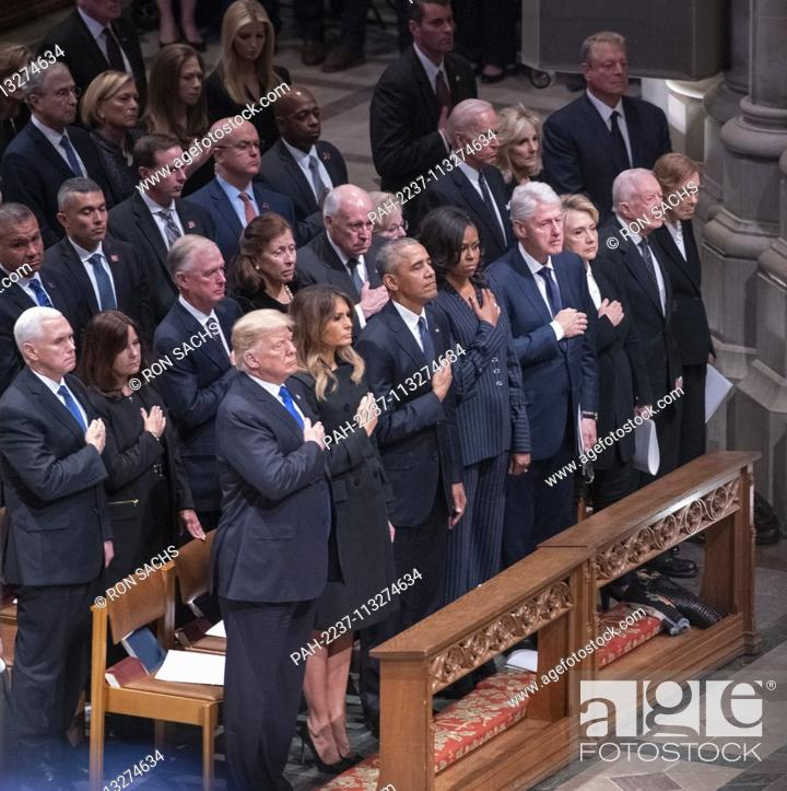 Stock Photo: Dignitaries pay their respects as the casket containing the remains of the late former United States President George H.W.