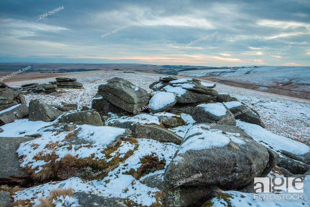 Stock Photo: Winter afternoon at Higher White Tor, Dartmoor National Park, Devon, England.