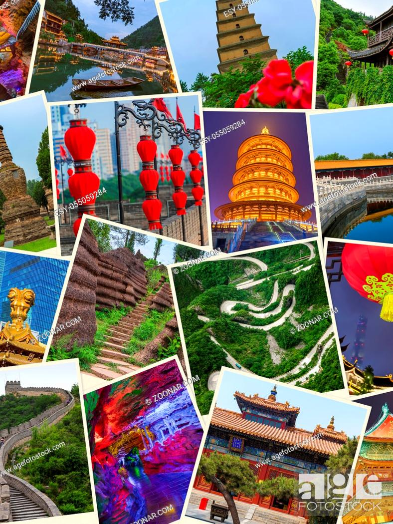 Imagen: Collage of China images (my photos) - travel and architecture background.