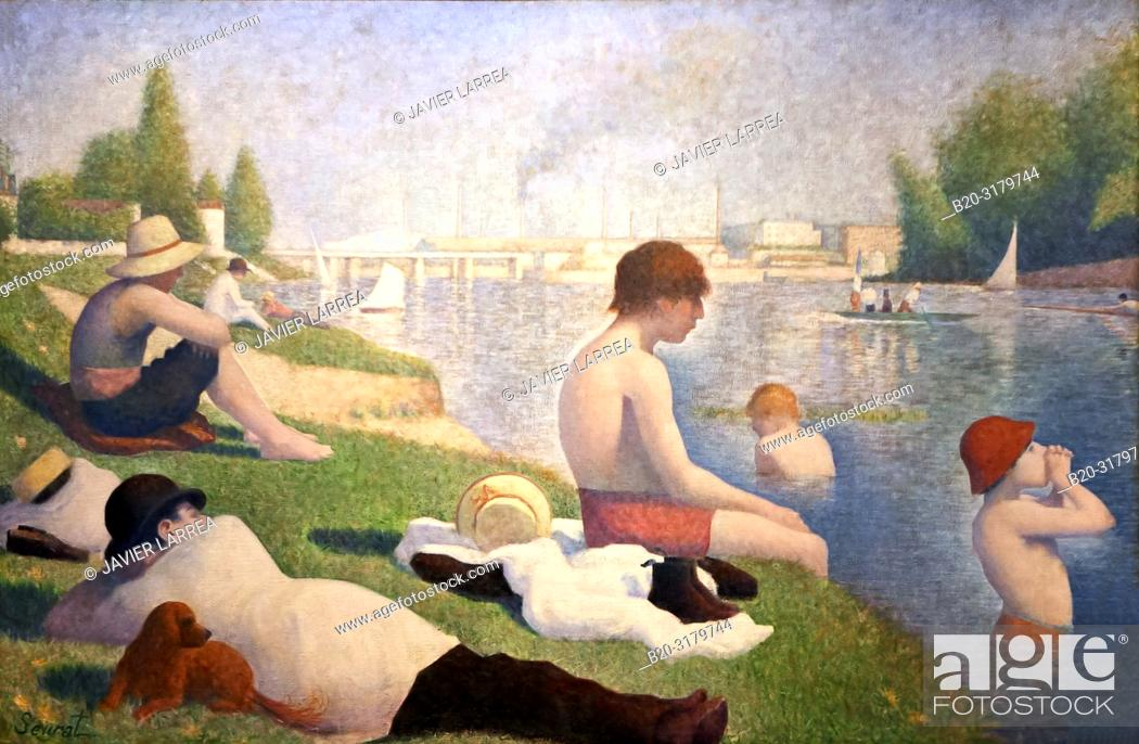 "Stock Photo: """"""Bathers at Asnières """", 1884, Georges-Pierre Seurat, National Gallery, London, England, UK."