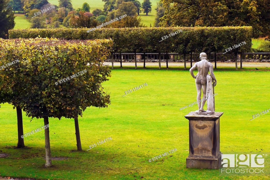 Stock Photo: One of the many classic sculptures in the gardens of Chatsworth House, a favorite tourist site in the Midlands of England.