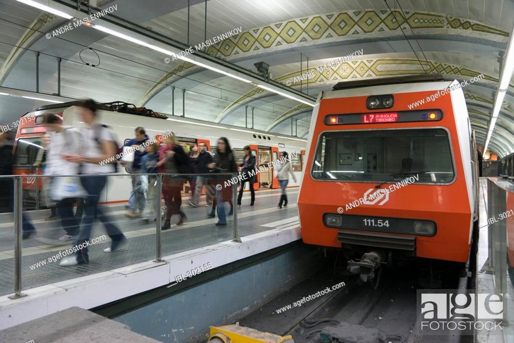 Stock Photo: Metro station Placa de Catalunya in Barcelona, Spain.