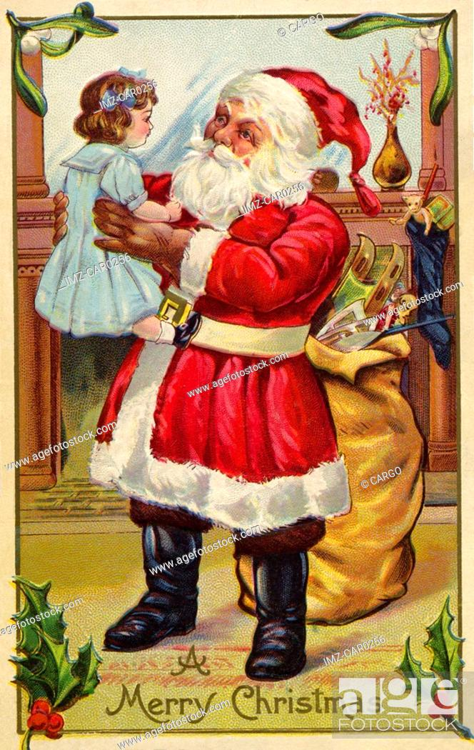Stock Photo: Vintage Christmas postcard of Santa Claus holding up a little girl.