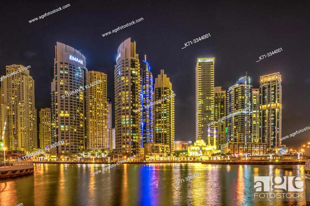 Stock Photo: A night view of the marina in Dubai, UAE, Middle East.