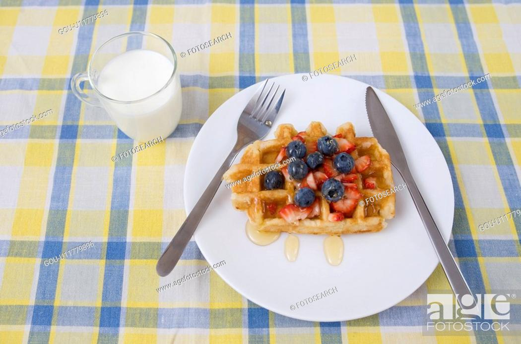 Stock Photo: Waffle on Table.