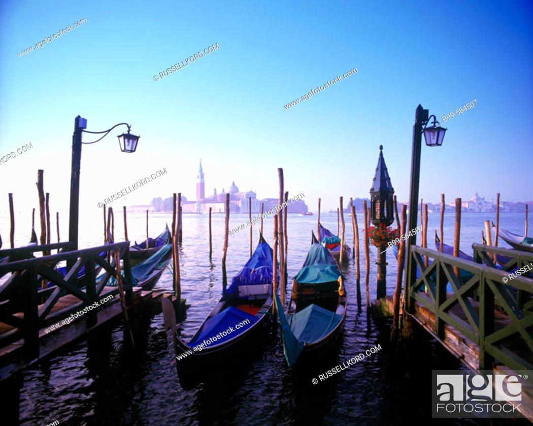Stock Photo: Gondolas & Isola Di San Giorgio Maggiore, Venice, Italy.