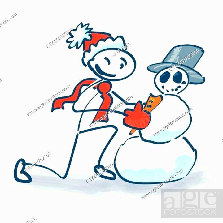 Stock Vector: Strichmännchen baut einen Schneemann.