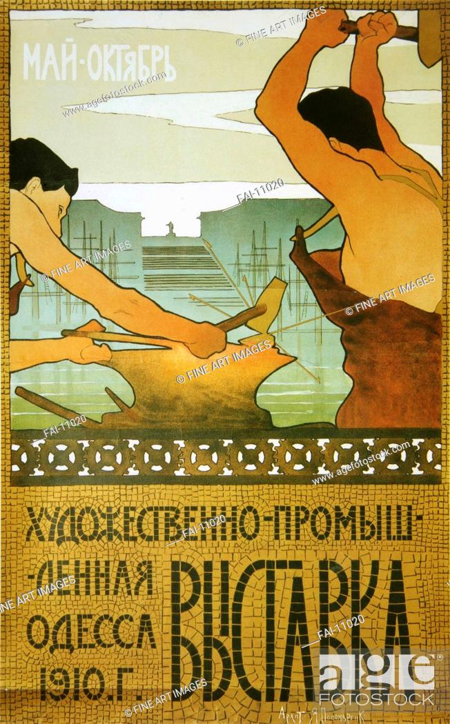 Stock Photo: Poster for the arts and crafts exhibition. Ponomarenko, Yakov Matveevich (1875-1926). Colour lithograph. Art Nouveau. 1910.