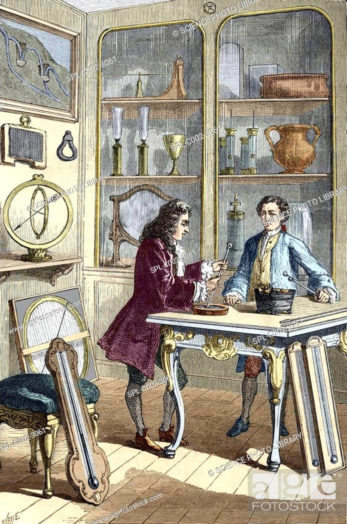 Stock Photo: Rene Reaumur 1683-1757, French naturalist and technologist, making his first thermometer in 1731. Reaumur at left devised a thermometer which used a mixture of.