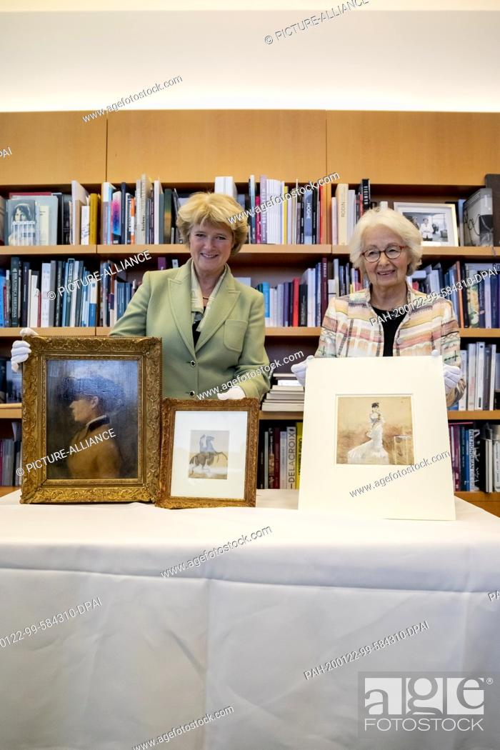 Stock Photo: 22 January 2020, Berlin: Monika Grütters (CDU, l), Minister of State for Culture, returns three works of art identified as Nazi looted art to Francine Kahn.