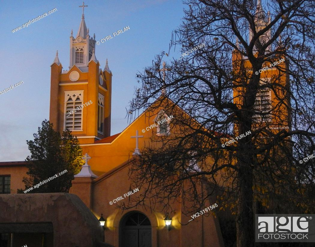 Stock Photo: San Felipe De Neri Mission Church Old Town Square Albuquerque, New Mexico 1793.