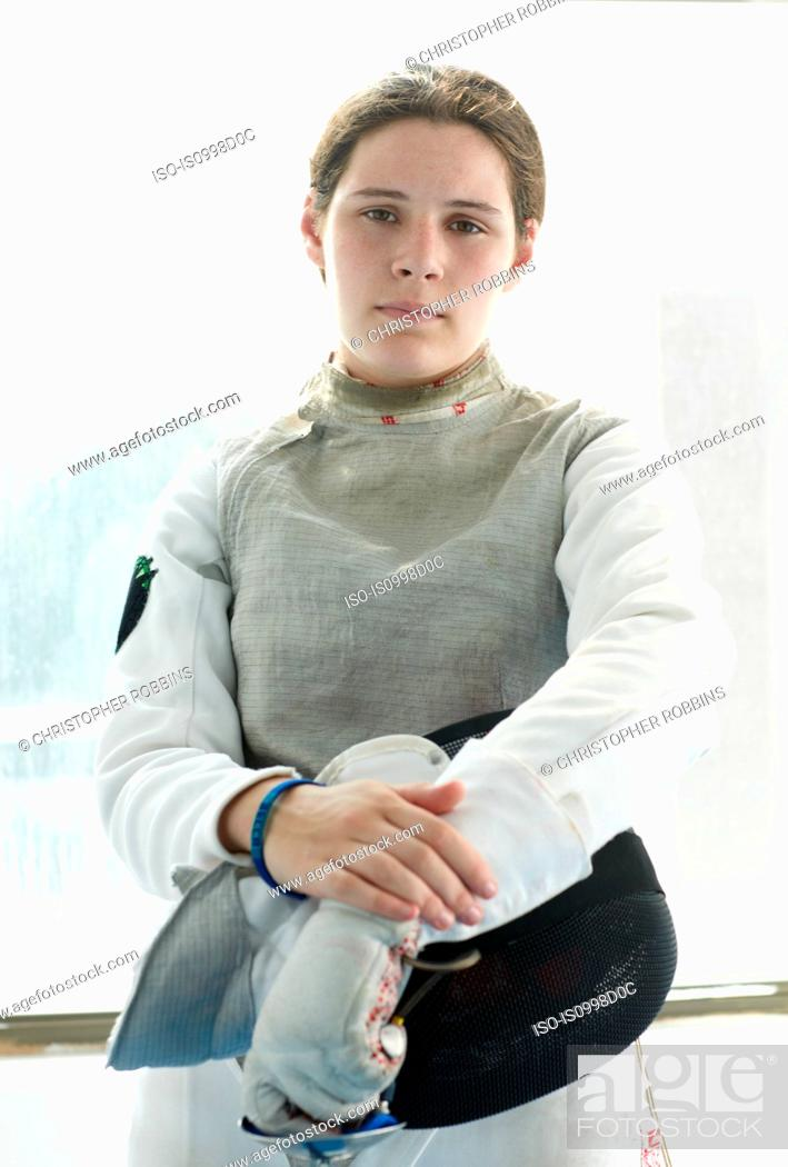 Stock Photo: Portrait of teenage female fencer.