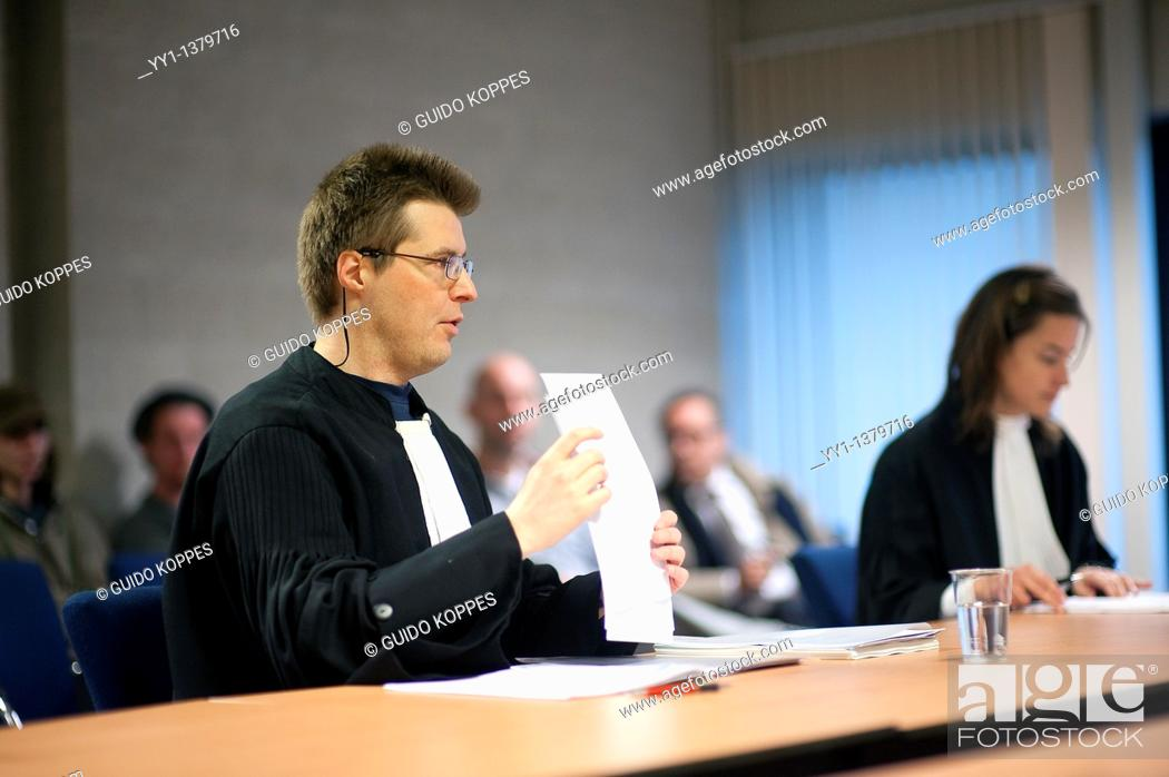 Stock Photo: Den Bosch, 's-Hertogenbosch, Netherlands. Lawyer / Barrister during a court session in a civil case.