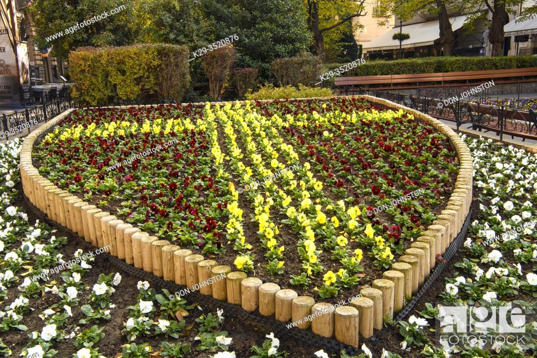 Stock Photo: Downtown Budapest (Pest)- flower display on Liszt Ferenc Ter, Budapest, Central Hungary, Hungary.