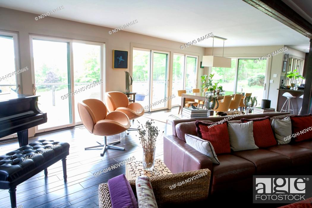 Stock Photo: Living and Dining Areas, Open Floor Plan.