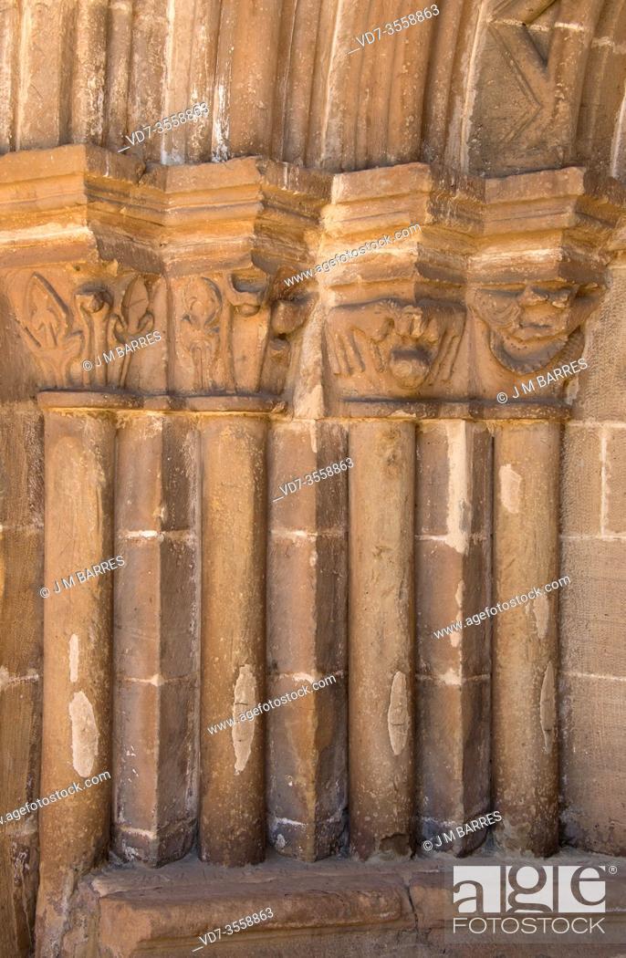 Stock Photo: Villavega de Aguilar, San Juan Bautista church, romanesque 12-13th centuries. Door. Aguilar de Campoo municipality, Montaña Palentina, Palencia province.