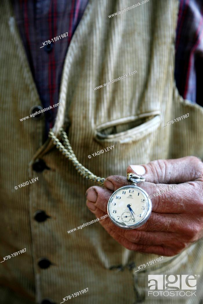 Stock Photo: detail picture of a Farmer's watch near Seneghe located by the Monti Ferru, Sardinia, Italy.