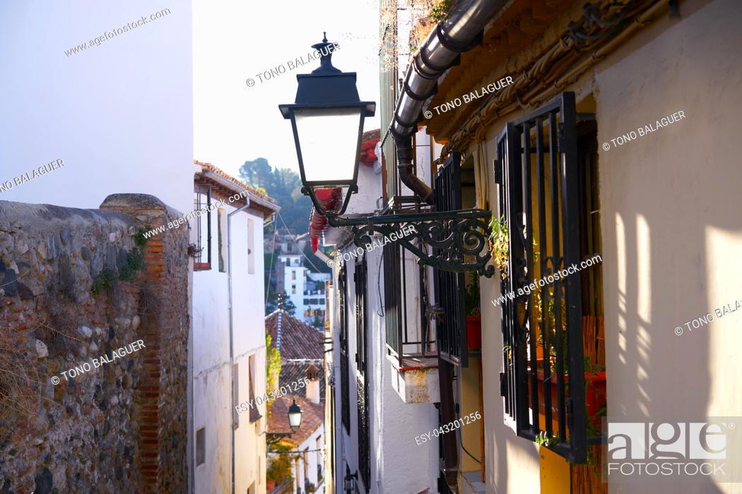 Stock Photo: Albaicin of Granada arabic old district of Andalusia muslim Spain.