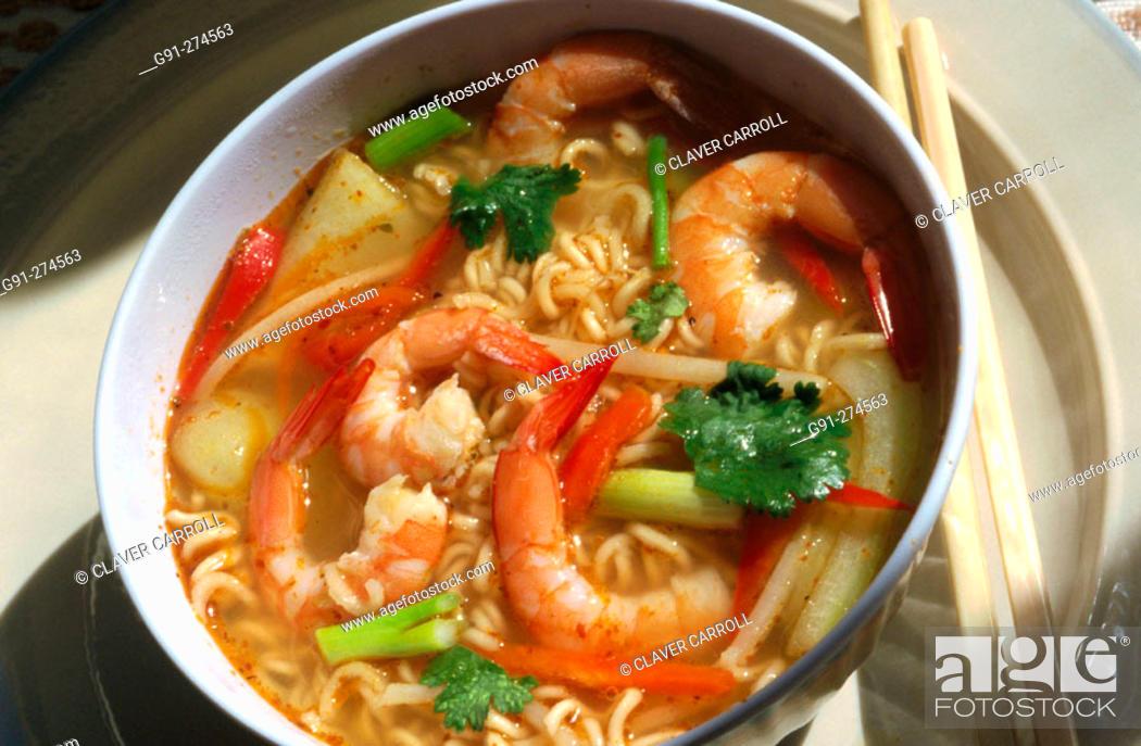 Stock Photo: Tom Yum Goong (Thai spicy soup).