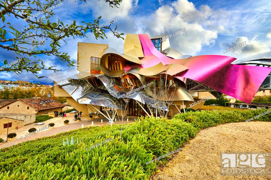 Stock Photo: The City of Wine, Marques de Riscal winery, building by Frank O. Gehry, Elciego, Alava, Rioja Alavesa, Basque Country, Spain, Europe.