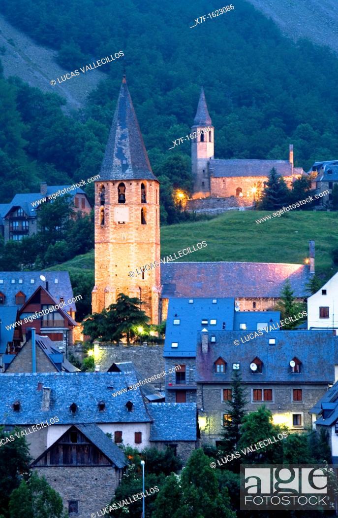 Stock Photo: Church of Salardú and church of Unha, Aran Valley, Pyrenees, Lleida province, Catalonia, Spain.
