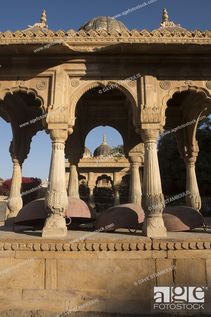 Stock Photo: Giant woks in the Badal Palace courtyard, Jaisalmer, Rajasthan, India.