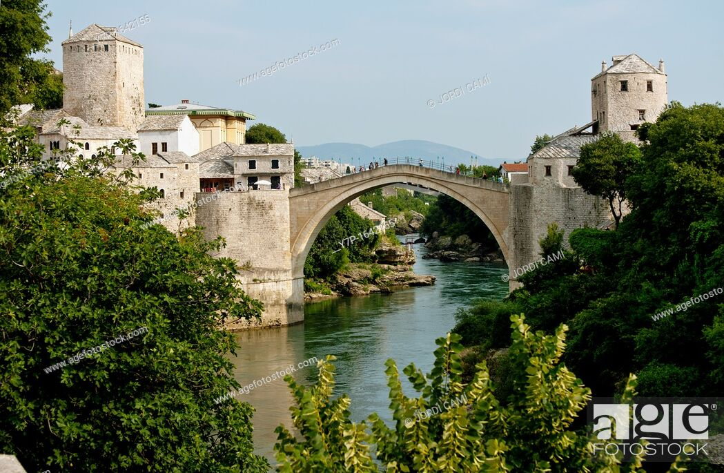 Stock Photo: Stari Most Peace Bridge and the Neretva river Mostar Bosnia- Herzegovina Balkans Europe.