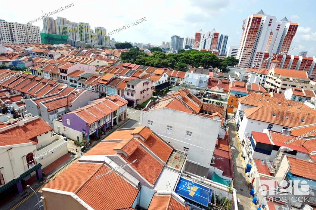 Stock Photo: aerial view of little india district  singapore  asia.