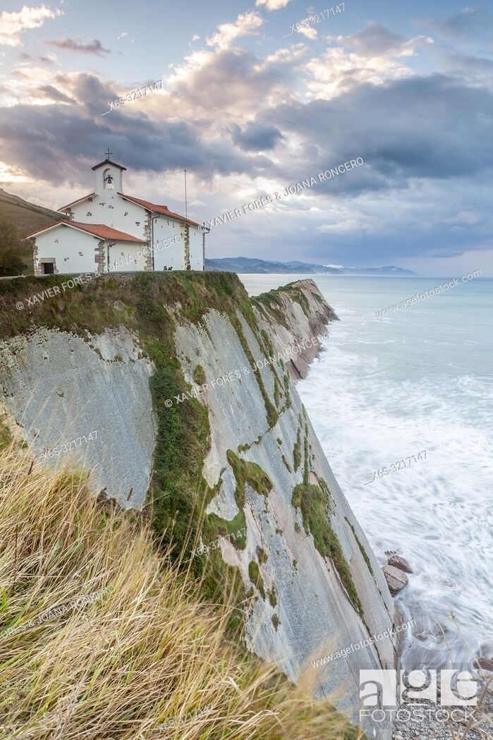 Stock Photo: San Telmo hermitage, Zumaia, Guipuzcoa, Spain.