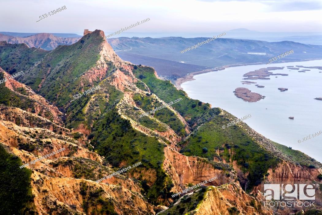 Stock Photo: Castrejón gullys and  Tajo river. Toledo province, Castile-La Mancha, Spain.