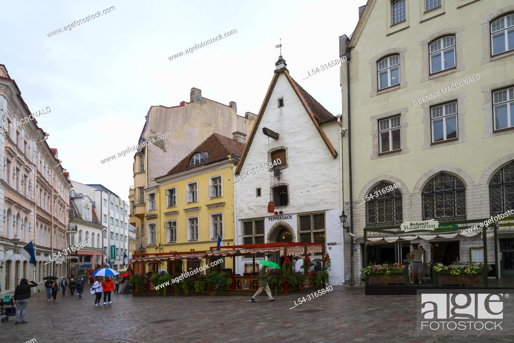 Stock Photo: Tallinn, Estoniaâ. . s capital on the Baltic Sea, is the countryâ. . s cultural hub. It retains its walled, cobblestoned Old Town, home to cafes and shops.
