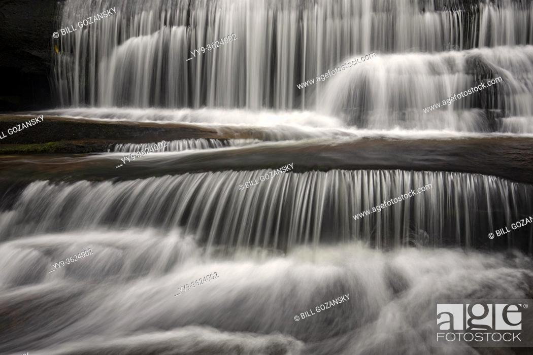 Stock Photo: Moody long-exposure water blurs at Grogan Creek Falls - Butter Gap Trail, Pisgah National Forest, near Brevard, North Carolina, USA.