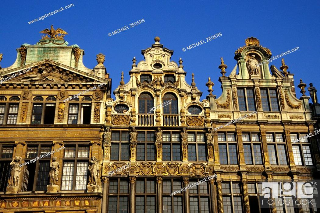 Stock Photo: Ornamental facade, baroque houses at the Grand Place, Brussels, Belgum, Benelux, Europe.
