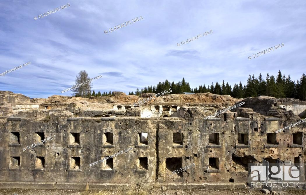 Stock Photo: Facade of the Austro-Hungarian fort of Luserna. Cimbra Alp, Trento province, Trentino Alto-Adige, Italy, Europe.