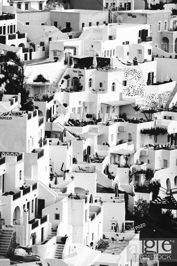 Stock Photo: View over Thira, Greece, Santorin, Thira.