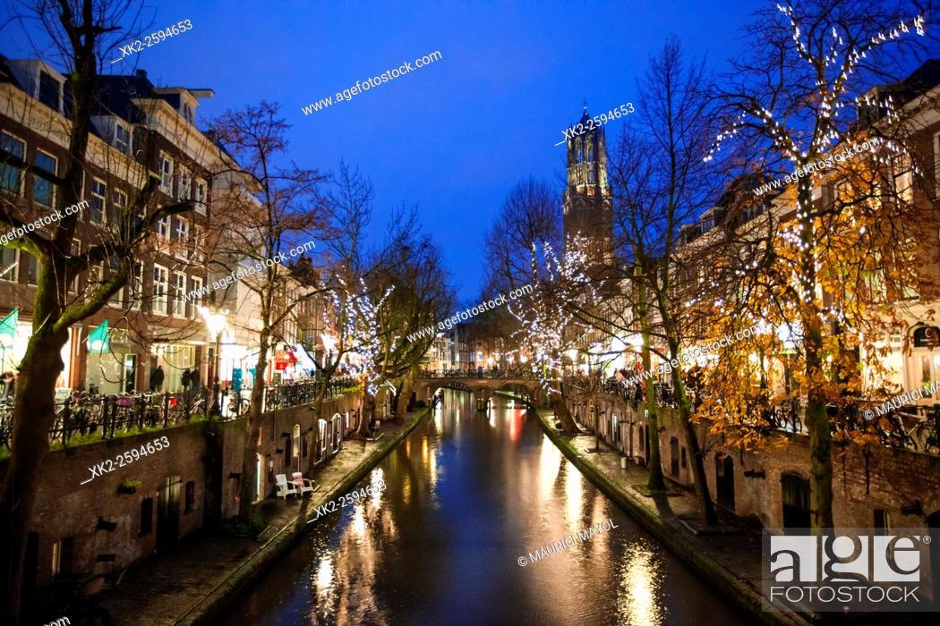 Stock Photo: Oudegracht and Dometoren of Utrecht at night, Utrecht, The Netherlands.