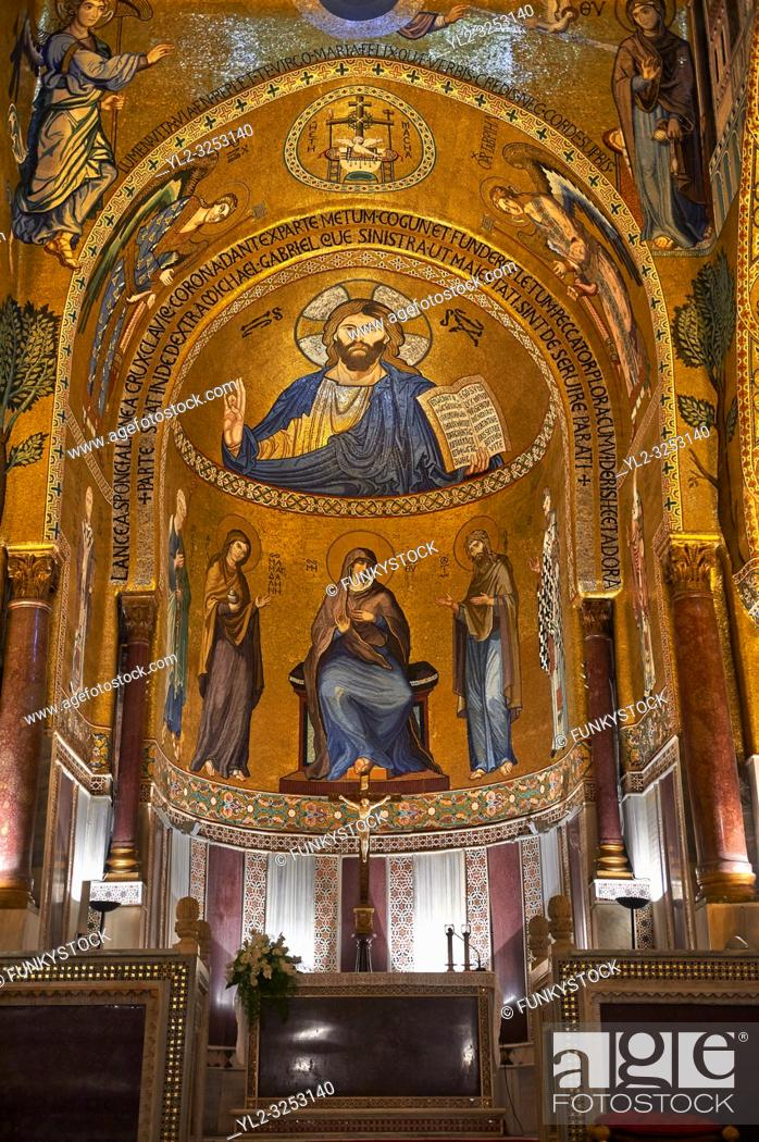 Stock Photo: Medieval Byzantine style mosaics of Christ Pantocrator above the altar of the Palatine Chapel, Cappella Palatina, Palermo, Italy.