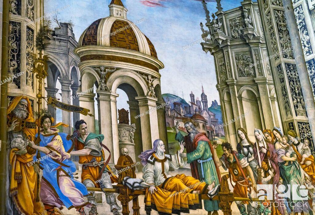 Imagen: Ghirlandaio Fresco Life of Virgin Tornabuoni Chapel Santa Maria Novella Church Florence Italy. Fresco created 1485.