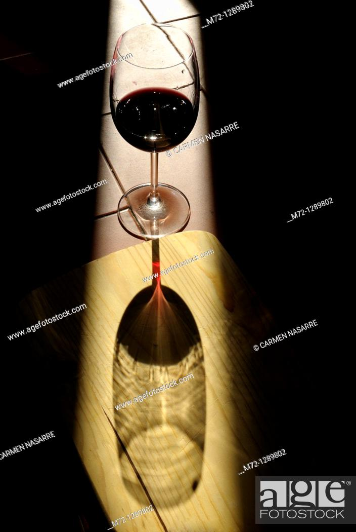 Stock Photo: Red wine glass.
