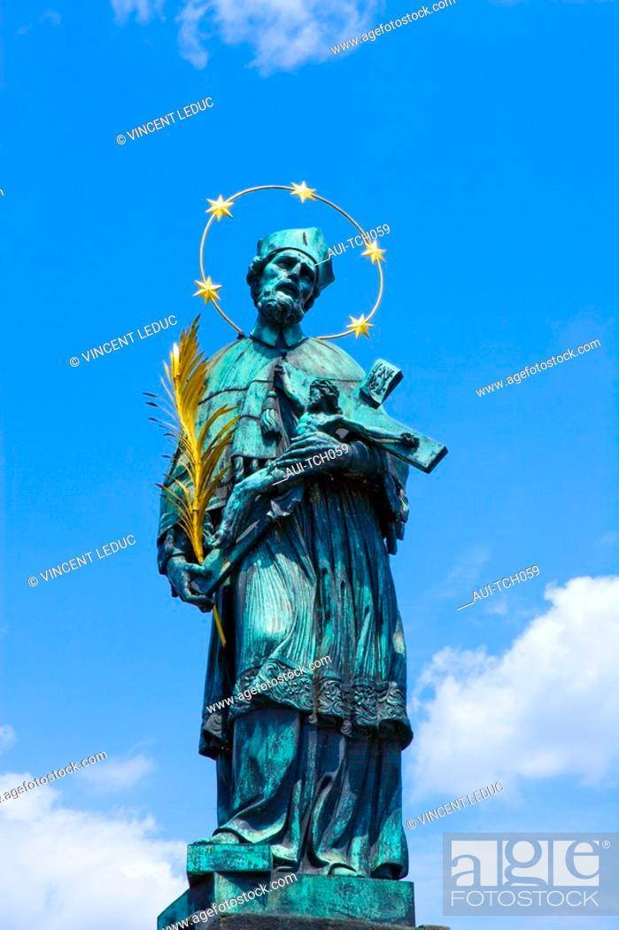 Stock Photo: Czech Republic - Prague - Mala Strana Prague 1 District - Charles Bridge Karluv Most - Statue of Saint Jean Népomucène.