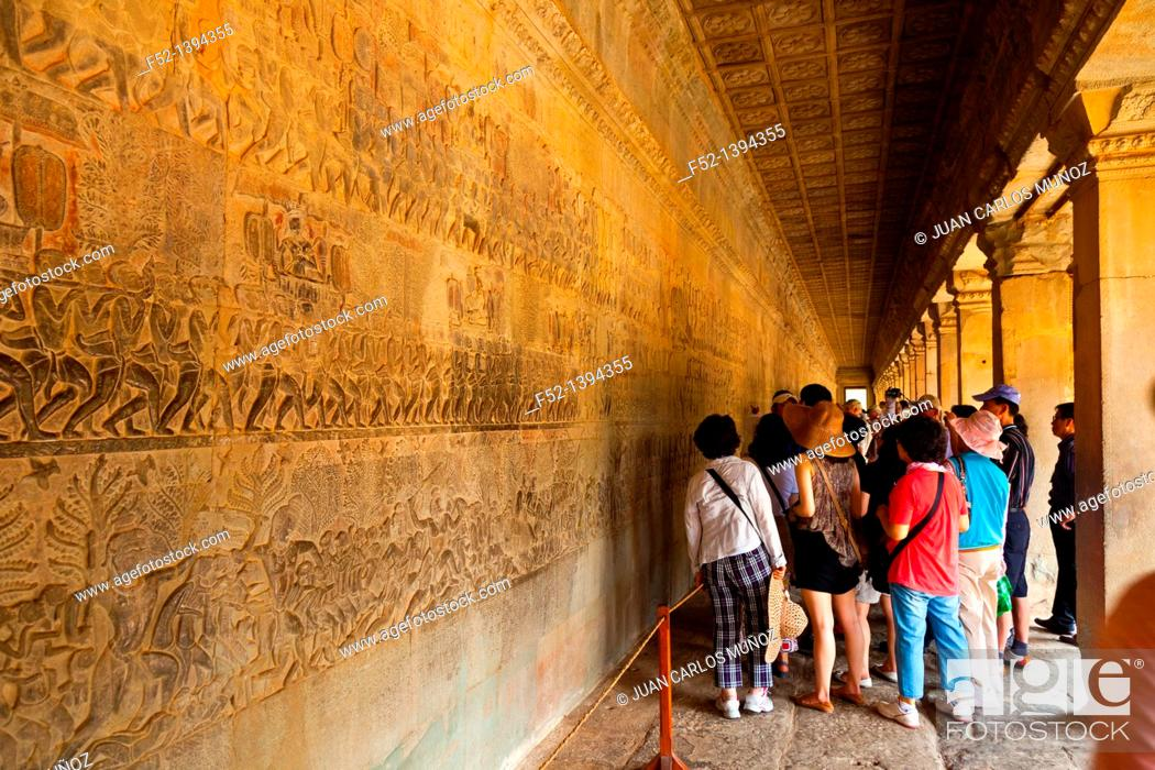Stock Photo: Bas-reliefs  Angkor Wat Temple  Angkor  Siem Reap town, Siem Reap province, Cambodia, Asia.