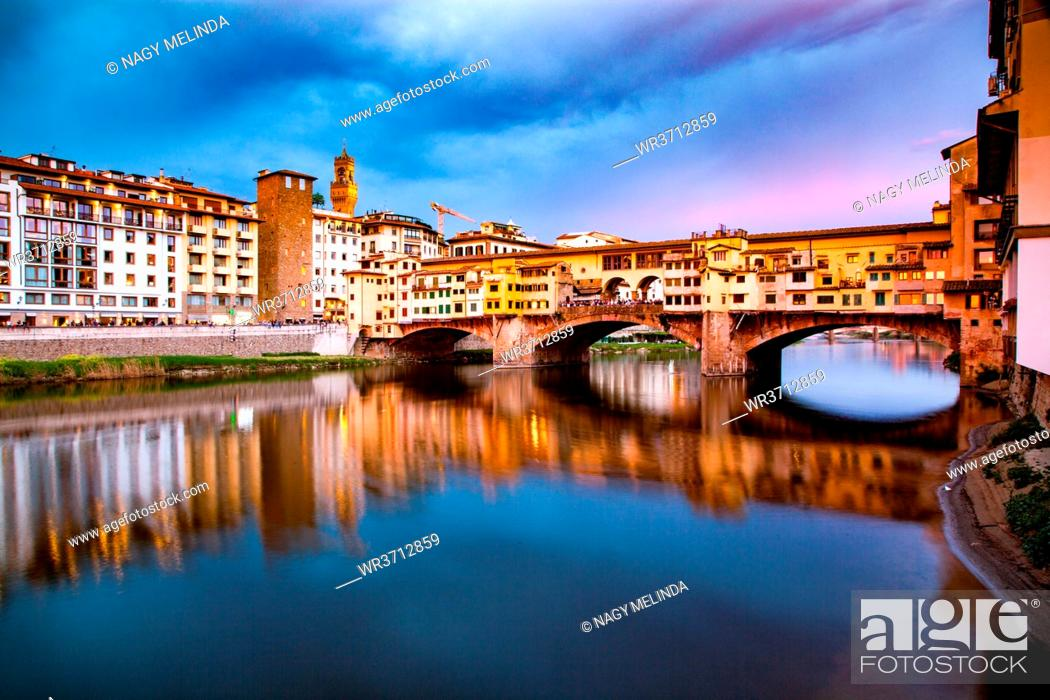 Stock Photo: Ponte Vecchio over the Arno River, in Florence, UNESCO World Heritage Site, Tuscany, Italy, Europe.