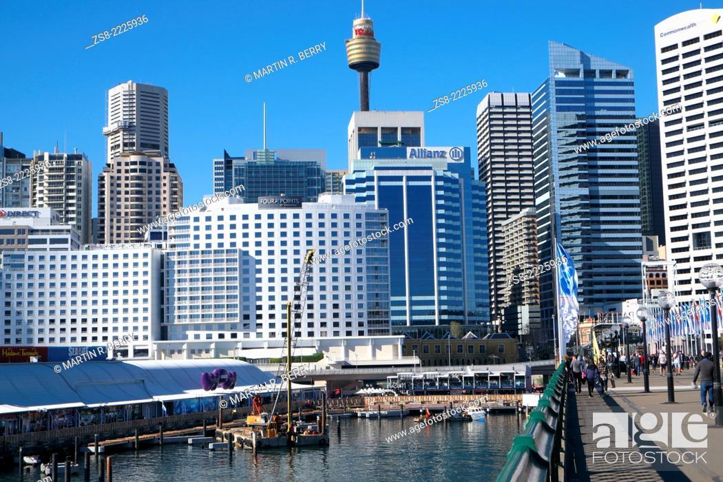 Stock Photo: Pyrmont Bridge over Darling Harbour, Sydney City Centre, Australia.