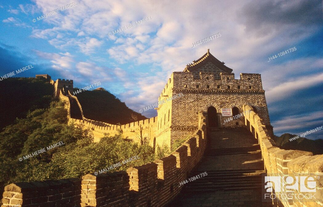 Photo de stock: China, Asia, Great Wall of China, Great Wall, Beijing, Great Wall, near Mutianyu, Asia, landscape, historic, hills, UN.