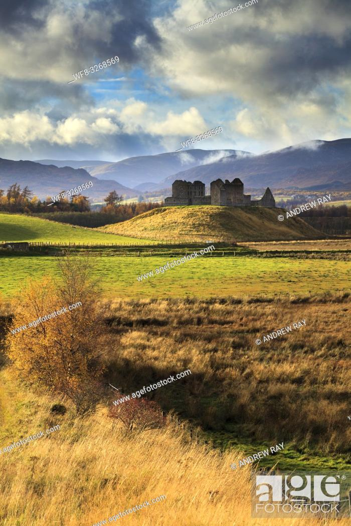 Stock Photo: Ruthven Barracks near Newtonmore in the Cairngorms National Park, captured using a telephoto lens on an atmospheric afternoon in early November.