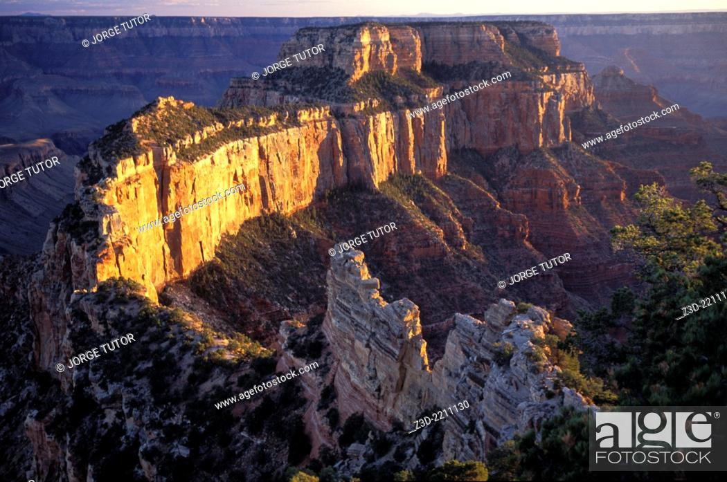 Stock Photo: North Rim, Grand Canyon at sunset, Arizona, USA.