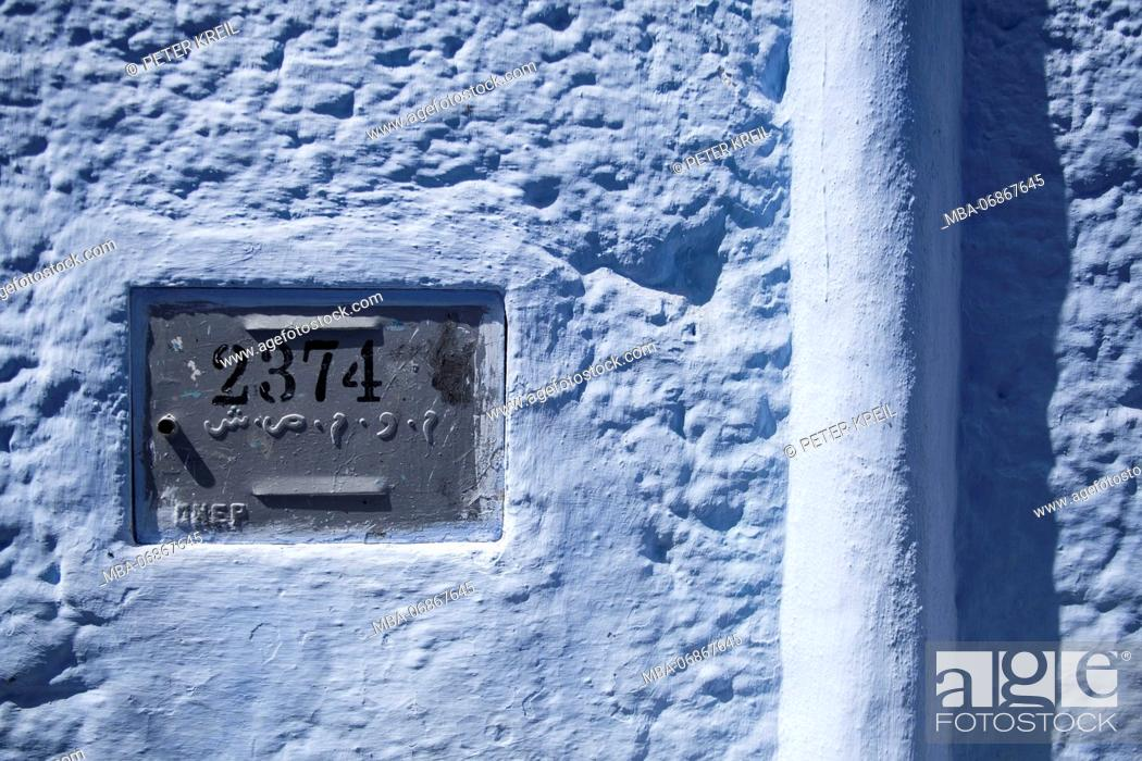 Stock Photo: Morocco, Chefchaouen, Old Town, house facade, little door, number, detail,.